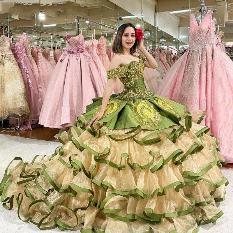 Olive Green 2021 Quinceanera Dresses Off The Shoulder Ruffles Tier Skirt Sweet 16 Dress Pageant Gowns vestidos de 15 años