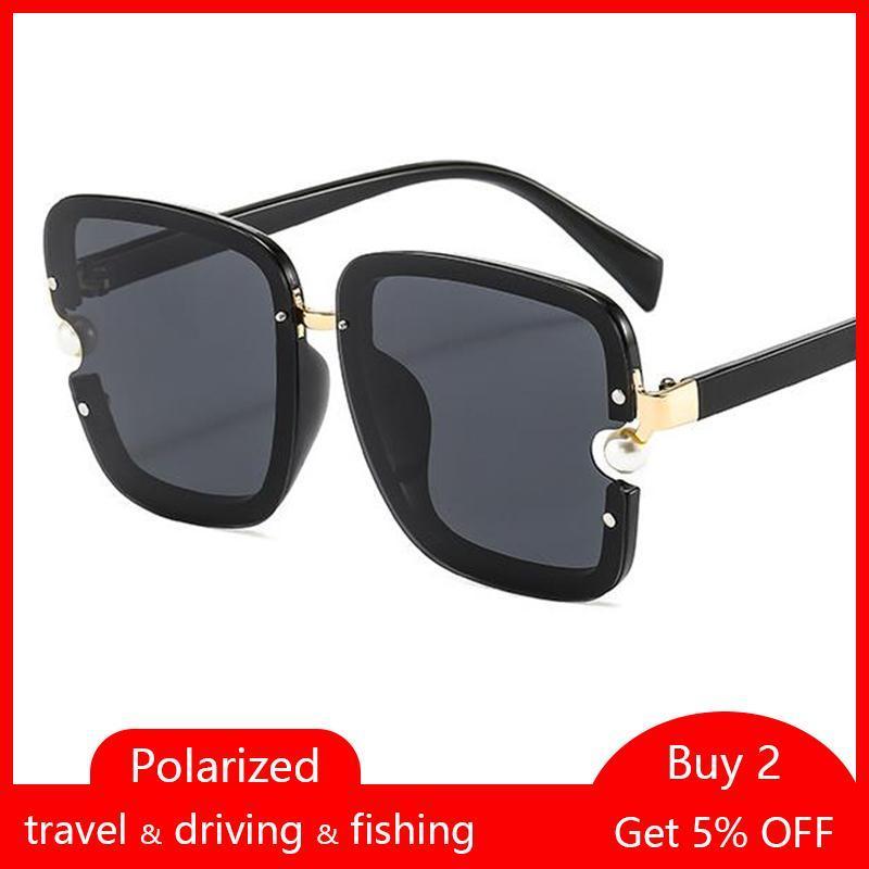 Vintage polarizado Negro Square Gafas de sol Mujeres Big Frame Gafas de sol Mujer elegante Pearl Eyewear Traving Oculos