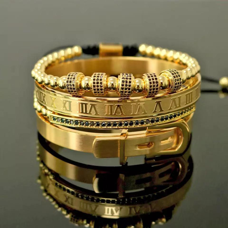 4pcs/Set Men Titanium Steel Roman Numeral Bracelet Horseshoe Buckle Bangles Pulseira Bileklik Luxury Handmade Jewelry Gift Valentine's Day