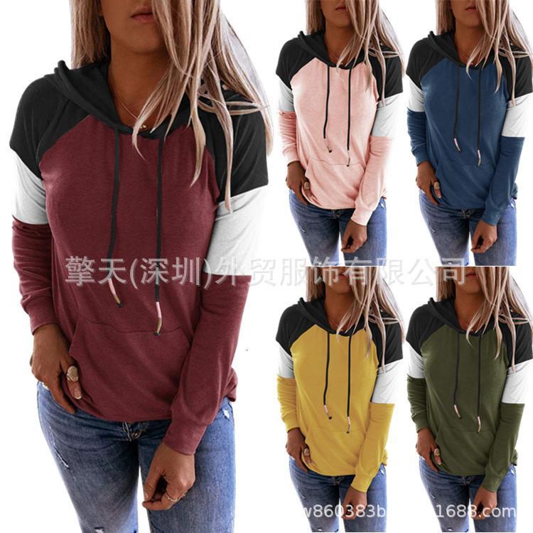 2020 Damen Herbst Neue Rundhalsfarbe Color Matching Mit Kapuze Pullover