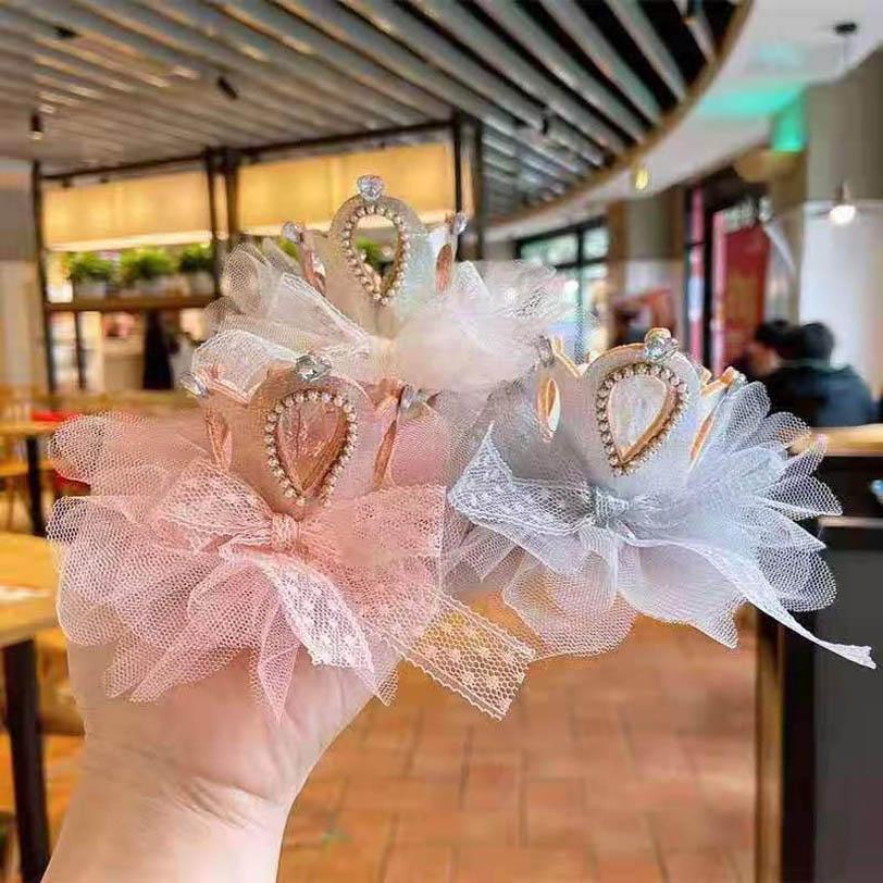 Accessoires de cheveux Couronne Filles Stickes Bandes Bandes Enfants Dentelle Enfants Fleur Princesse Clips Bandeaux Barrets B4442