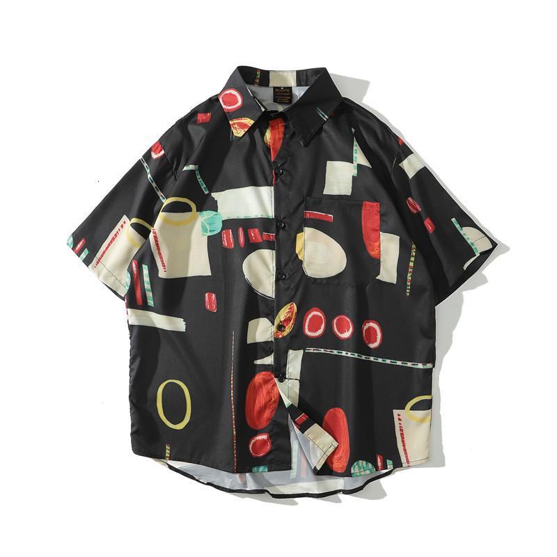 Black Full Stampato Camicie hawaiane Uomini Street Fashion Holiday Beach Camicie da uomo Camicie estive per uomo
