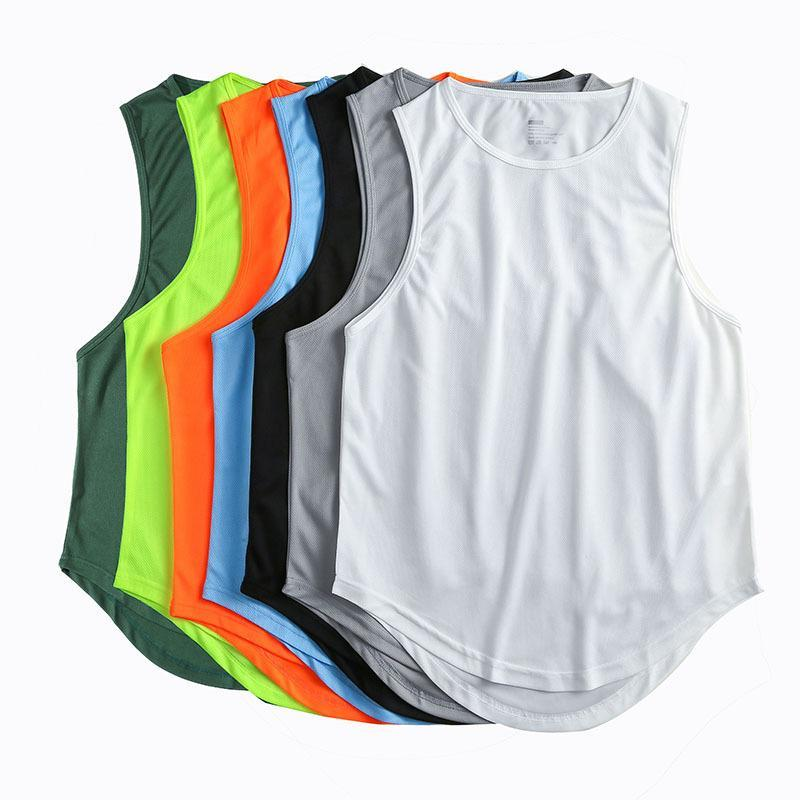 Men's Tank Tops Mens Solid Color Quick Drying Vest Running Training Breathable Sports Sleeveless Fitness T-shirt Top -40