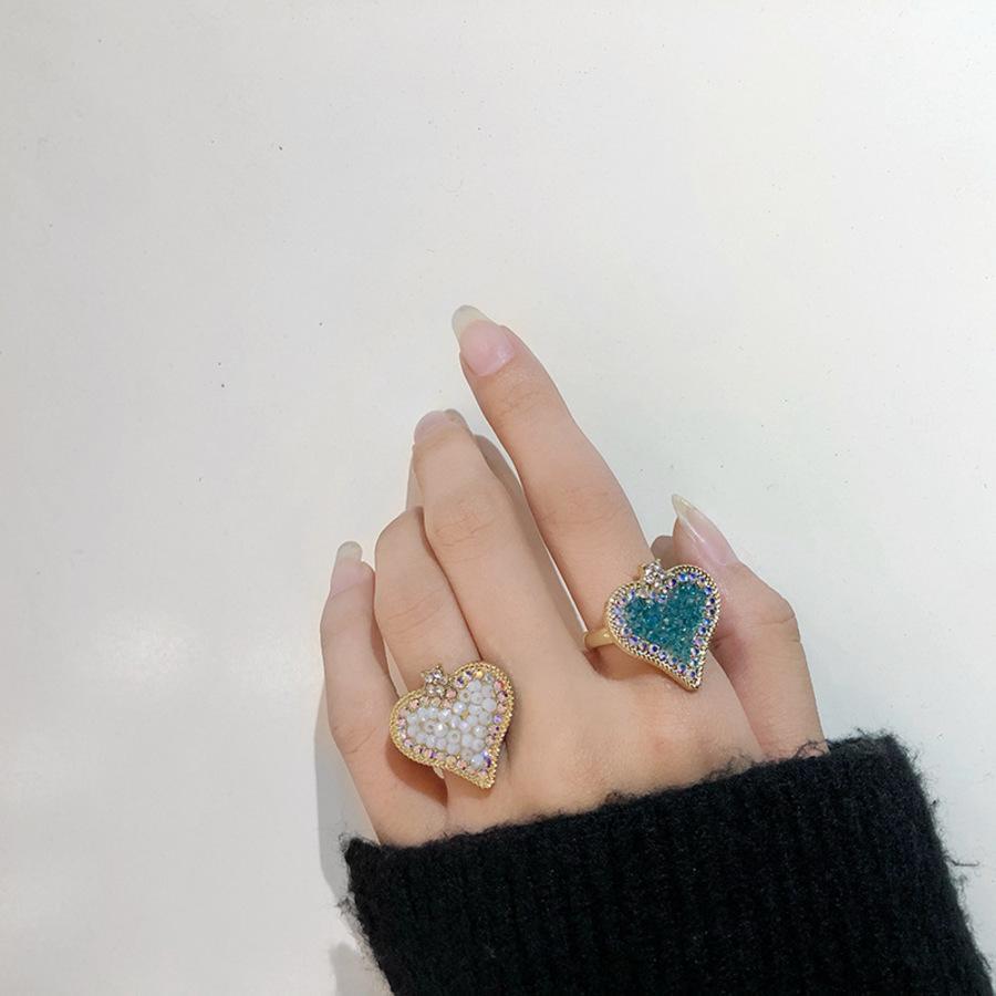 Anillo de diamante en forma de corazón FEYA INSSIÓN FEXTY INSERIR LA VERSIÓN COREA SIMPLE Y FRESCO NICHE DE NICHO INDICE DE DINGO PERSONALIZADO YG4W