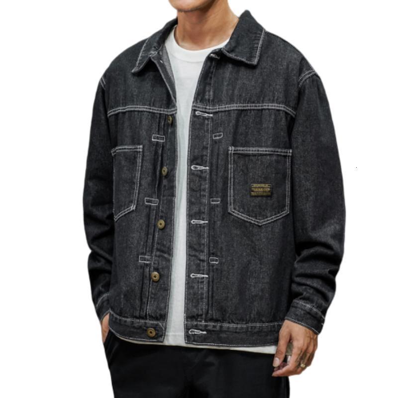 Куртки Япония Стиль Джентльмены Черная Джинсовая Джассен Хип-Поп Уличная Одежда Cool Man Jas Большой Размер M-5XL Бомбер для мужчин