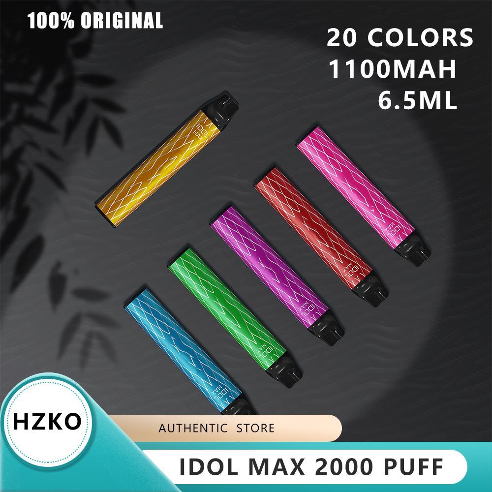 원래 Hzko Idol Max 디바이스 2000PF 1100mAh 배터리 6.5ml 빈 포드 vape 펜 100 % 정통