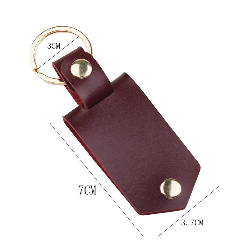Läder Nyckelringar Hängsmycke Sublimering leerer Aluminiumlegierung Bil Schlüsselanhänger Värmeöverföring DIY Dekorativ Keychain GWB7603