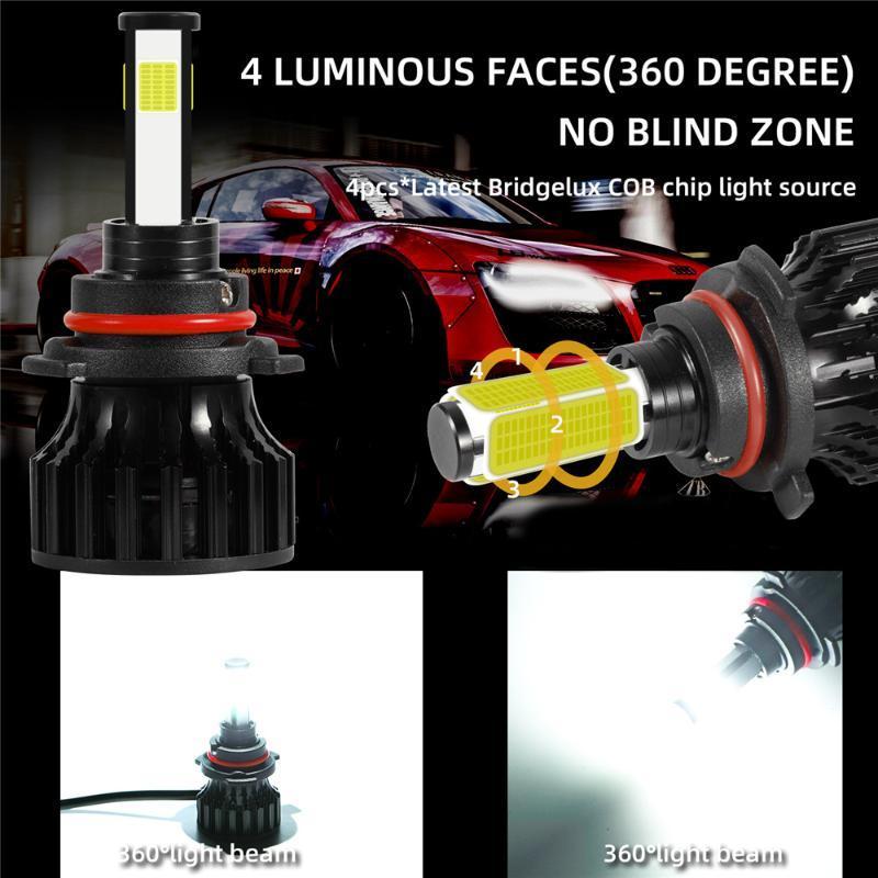 Travail de travail 4pcs D8 D8 LED Phare intégré Mini Pont RotaTable Team Off-route Véhicule 9005 9006 H11 Kit Combo