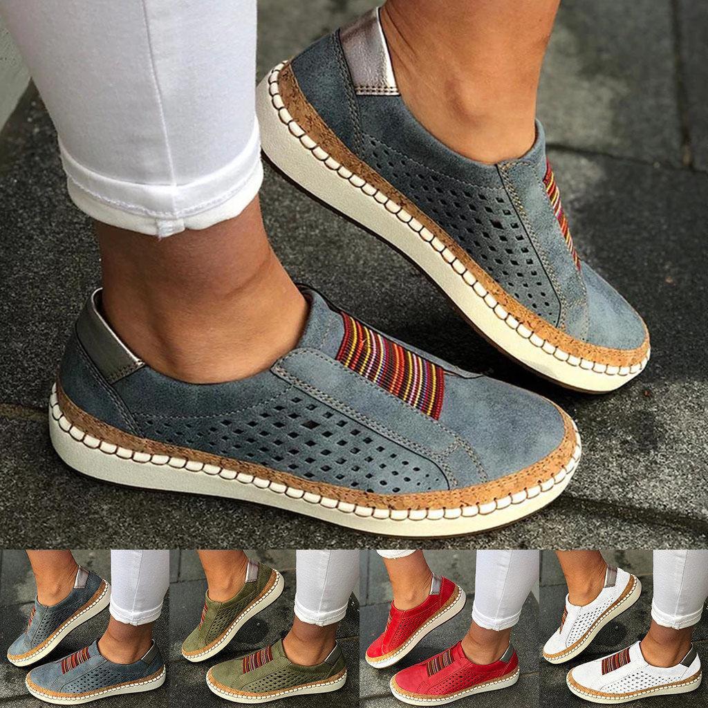 السيدات تنفس الجوف خارج أحذية رياضية عارضة جولة تو شقة المتسكعون مريحة حذاء رياضة الإناث زائد حجم الأحذية chaussure