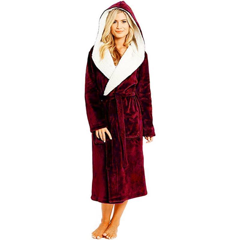 Kadın Pijama 2021 Kadın Kış Katı Renk Lady Peluş Uzatılmış Şal Bornoz Ev Giysileri Uzun Kollu Robe Evli