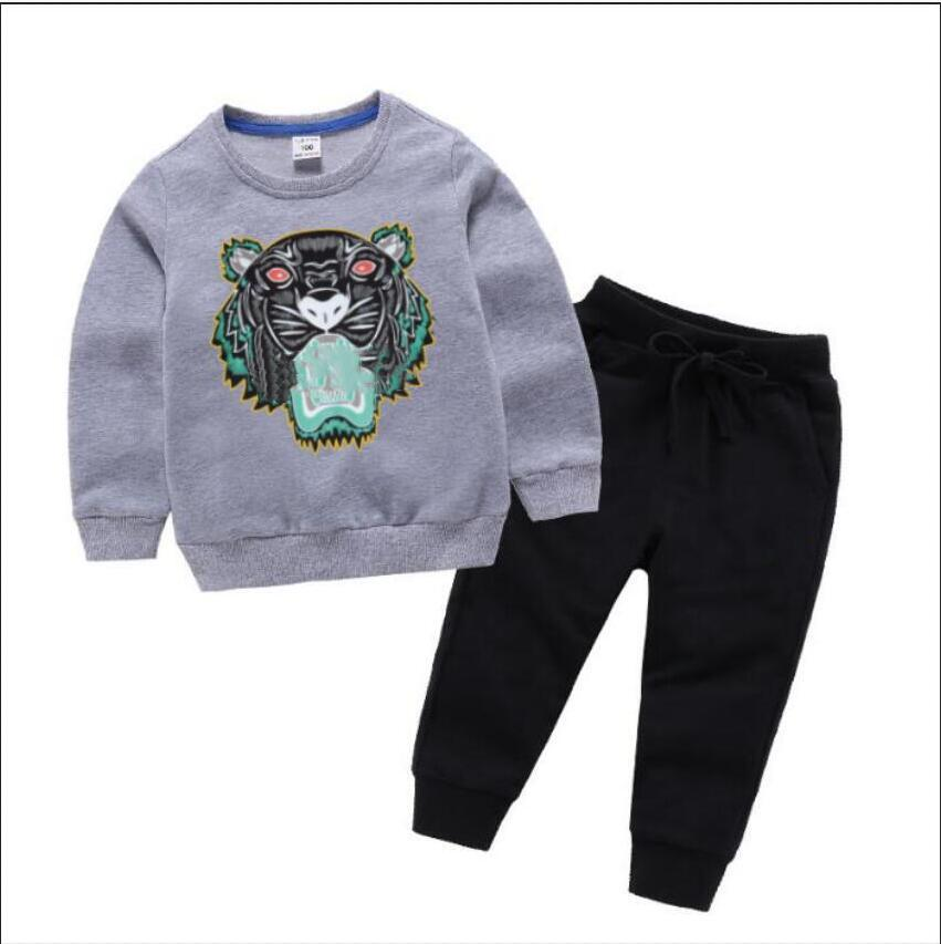 2021 Brand Luxury Designer Kids Sweater Sets Autumn Baby Clothes Print for Boys Outfits Toddler Fashion Hoodie And Pants Children Suits