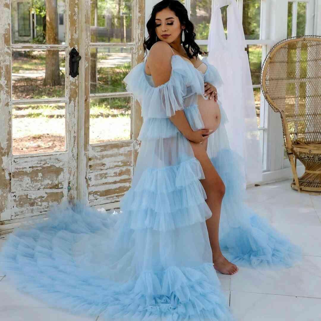 Légère bleue Spaghetti Robes de soirée Tulle Volants Front Split Opond Opond Bandes Robes pour femmes enceintes Vestido de Novia