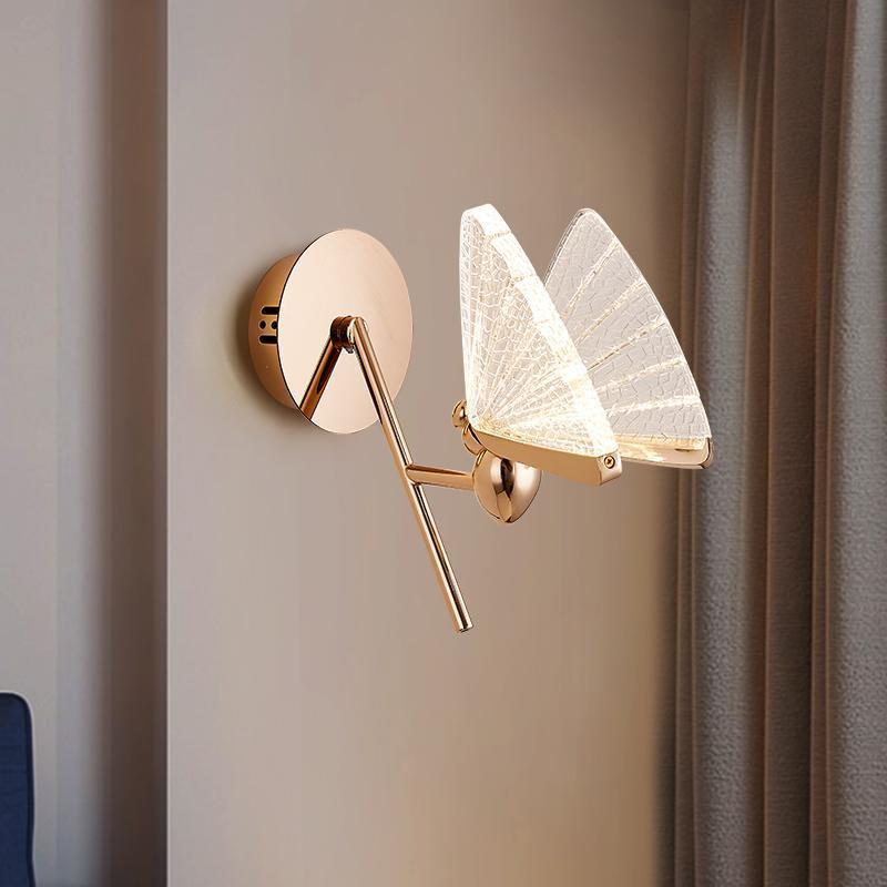 현대 노르딕 미니멀 아크릴 나비 벽 램프 침실 학습 거실 아연 합금 곤충 조명