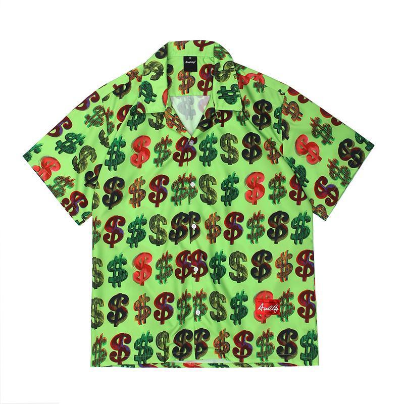 풀 달러 프린트 느슨한 캐주얼 여름 셔츠 남성과 여성 짧은 소매 오버 사이즈 하와이 셔츠 힙합 옷깃 탑 남자