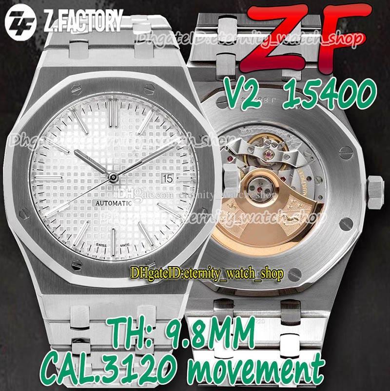 Eternity Relógios ZFF V2 Última atualização versão 41mm 15400 Silver Texture Dial Cal.3120 ZF3120 Mens Automático Assista Sapphire 904L Caixa de Aço Inoxidável Pulseira 01002