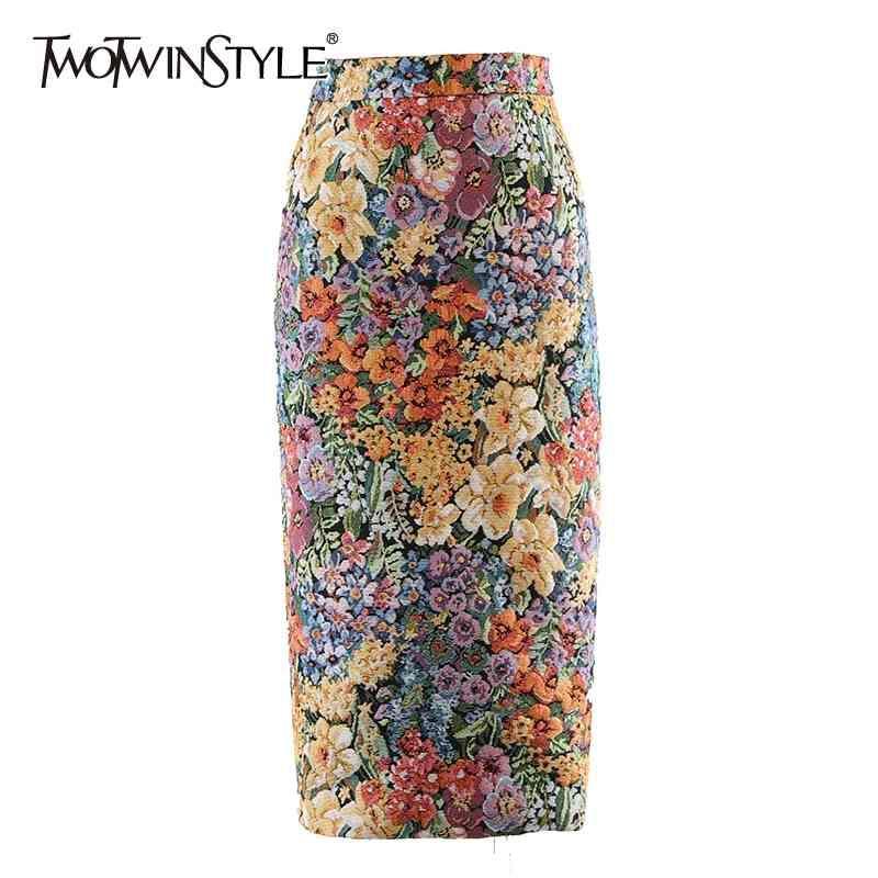 Bodycon Vintage Midi Falda para Mujeres Alta Cintura Estampado Floral Estilo Chino Faldas Mujer Moda Femenina 210423