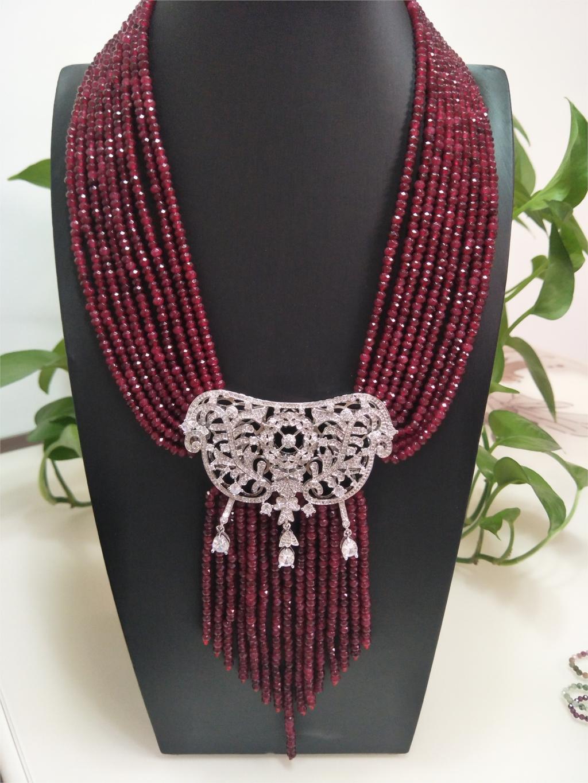 Hot Sell Naturel 9 rangs 2x4mm Rouge Stone Micro Inlay Zircon Pendentif Collier Tassel Collier Fashion Bijoux