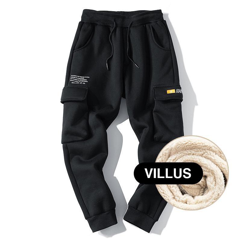 겨울 스웨트 팬츠 남성 Streetwear 조깅 남자화물 바지 따뜻한 양 양모 패션 캐주얼 바지 남자