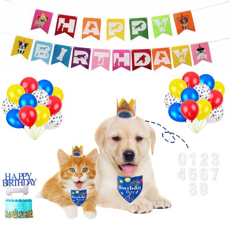 Pet Party Banner Decoração de Aniversário Bolo Balão Dog Saliva Tocha Acessórios Rainbow Festival Fontes Fontes