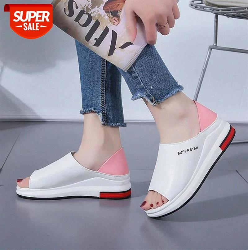 Plus Size Summer Casual Flat Women Sandals Sport Fashion Mixed Colors Slip-On PU Leather Non-slip Platform Beach Shoes #FE7v