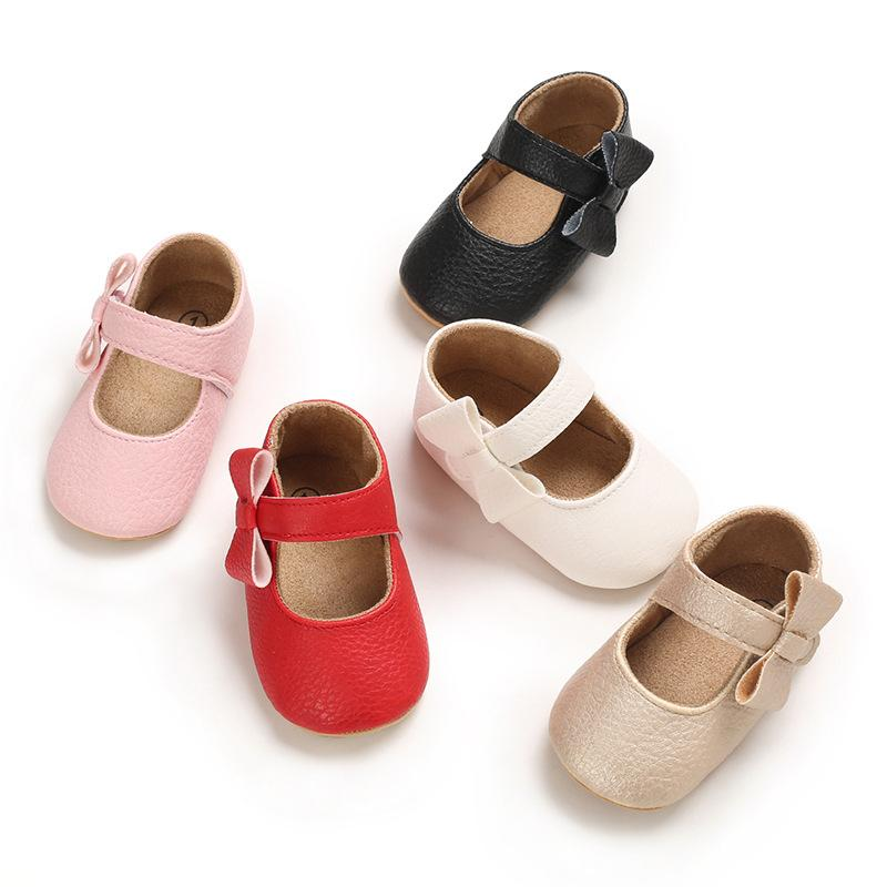 Baby Girl Shoes 2021 Spring Autumn Infant Newborn Pink PU First Walkers Shoes Baby Toddler Rubber Soft Sole Anti-slip Moccasins