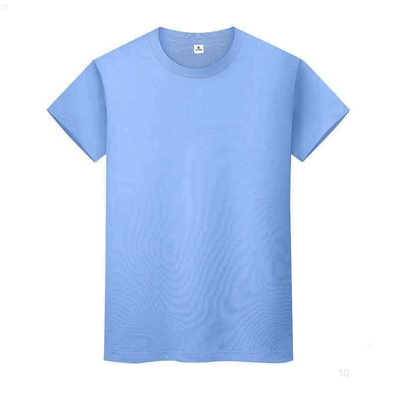 Yeni Yuvarlak Boyun Katı Renk T-Shirt Yaz Pamuk Dibe Gömlek Kısa Kollu Erkek ve Bayan Yarım Kollu 0911io