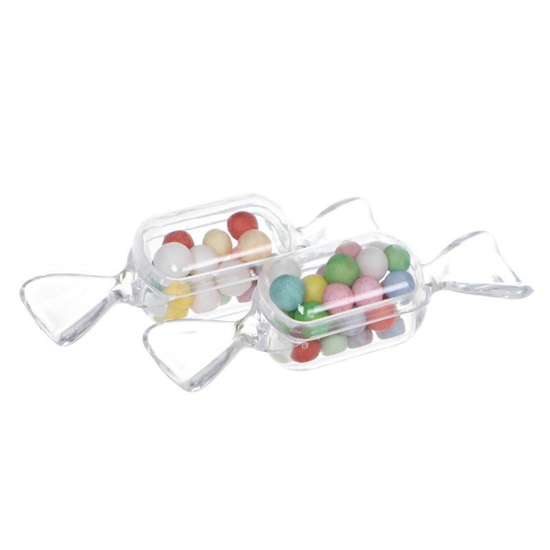 10 pcs Caixas de plástico forma de doces transparentes favorecem titulares mini caixa de acrílico 3 cores
