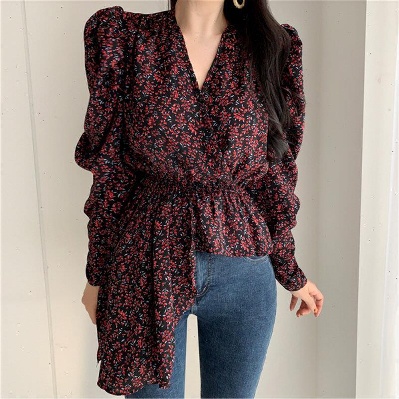 All Match Summer Elegance Florals Women Shirt V Neck Irregular Tops Puff Sleeves Chic Loose Sweet Casual Female Shirts
