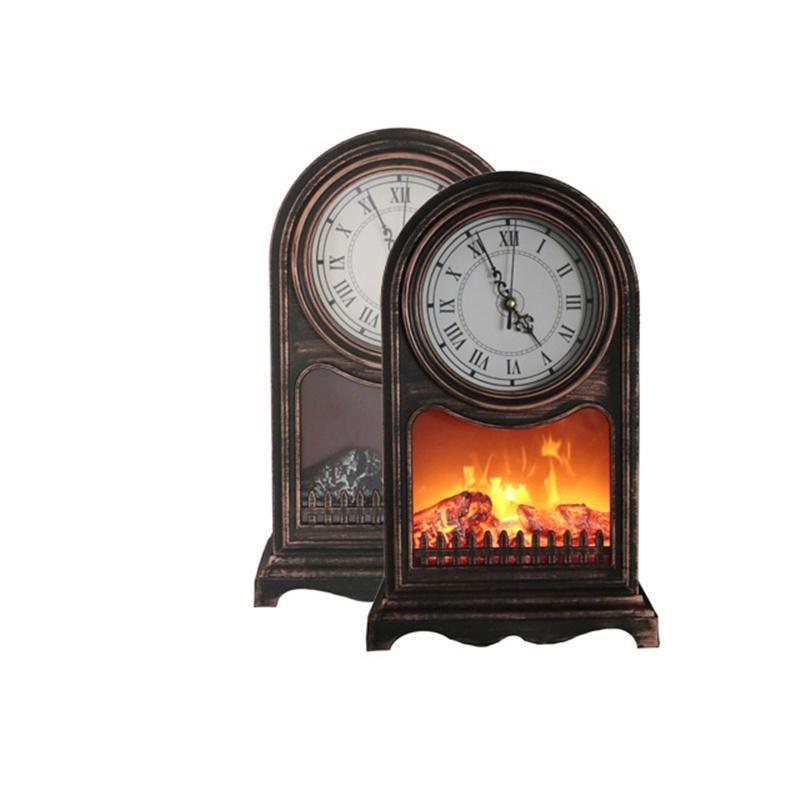 검은 금요일 실내 LED 벽난로 램프 - 빈티지 르네상스 시계 비상 조명 벽