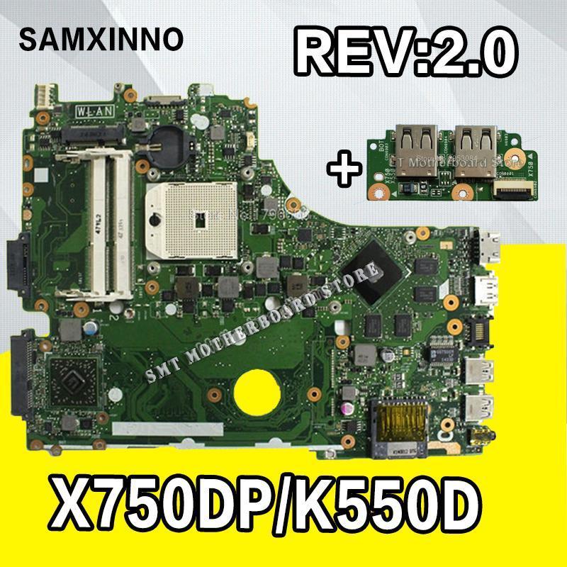 Motherboards Send Board+X750DP Motherboard For Asus X750DP K550D X550D K550DP X550DP Laptop Rev2.0 Mainboard Original