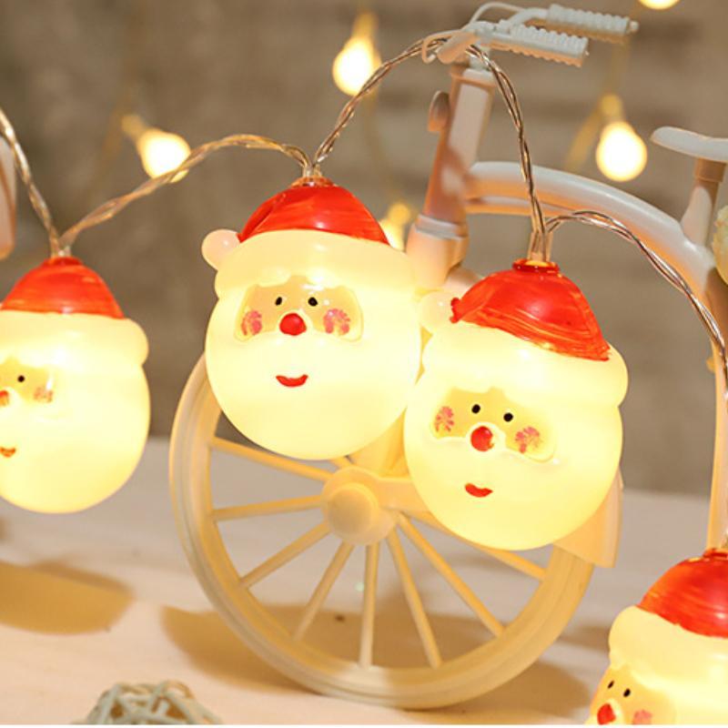 Santa Claus Christmas De Noël Light Red Chapeau De Bonhomme de neige Éclairage String Batterie Powered Powered 1.5m / 3M Room Décoration Fairy Lights 2022 Nouvel An