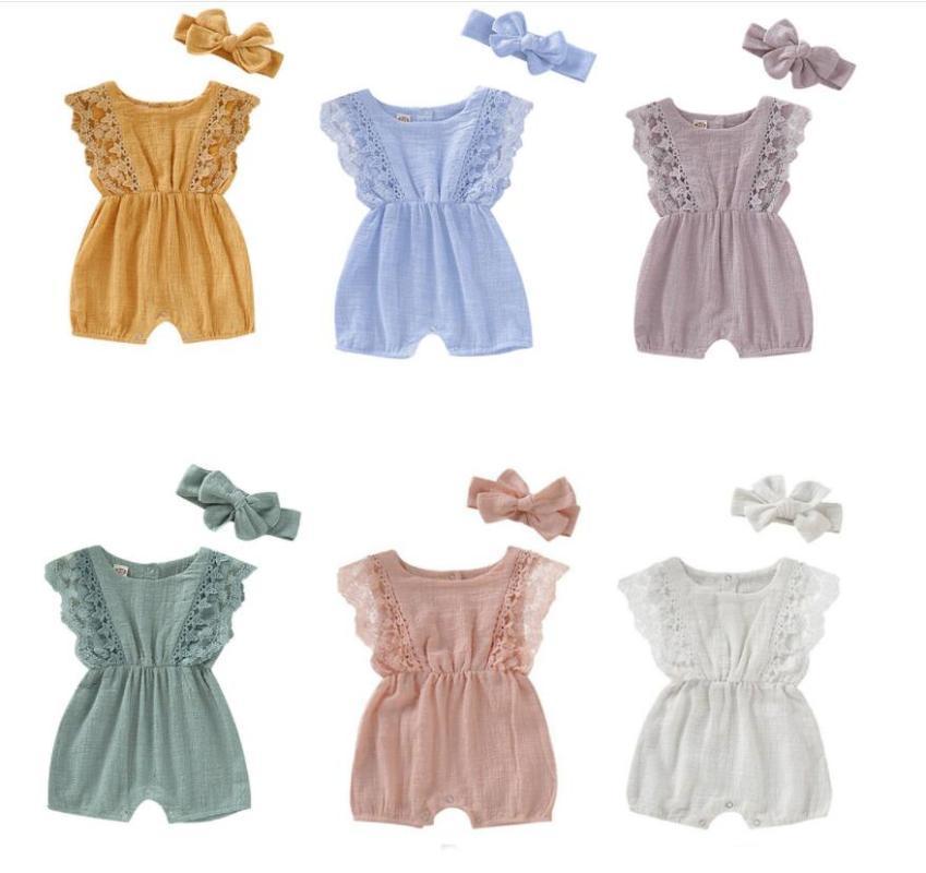 Jumpsuits Niedlichen Sommer Baby Mädchen Bodysuits Kleidung Prinzessin Rüschen Baumwolle Jumpsuit Kleinkind Weiche Bodysuit + Stirnband Strand Outfits