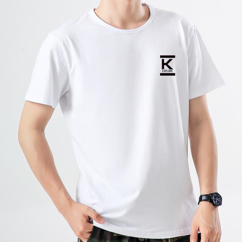 t-shirt T-shirt à manches courtes en t-shirt T-shirt peigné en coton peigné rond de la tendance à moitié de grande taille vêtements lâche