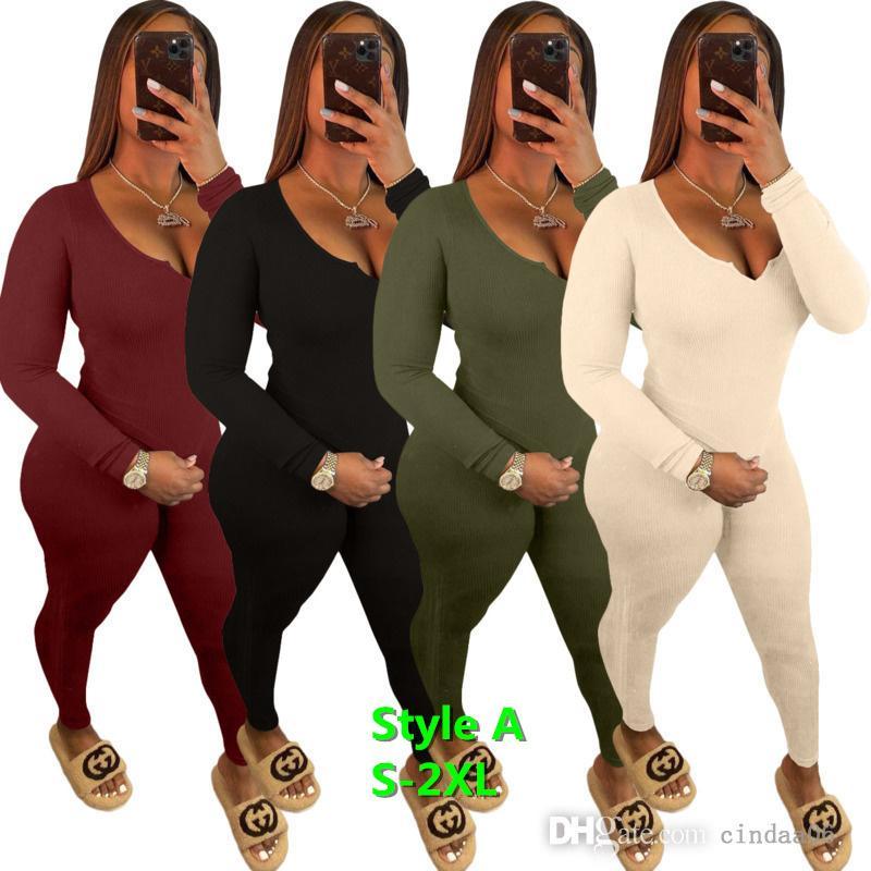 Kadın Eşofman Kaburga Örgü İki Parçalı Sweatsuit Set Uzun Pantolon Kıyafetler Güz Giyim 2021 Slim Fit Kırpma Üst Ve Sıkı Legging Spor