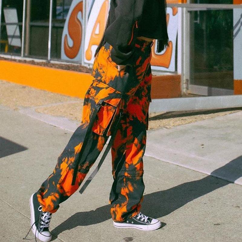 Pantaloni da donna Capris Tie Dye Stampa Cargo Donne Camo Arancione Dritto Pantaloni lunghi Pantaloni Casual Tasche Casual Harem Streetwear Goccia
