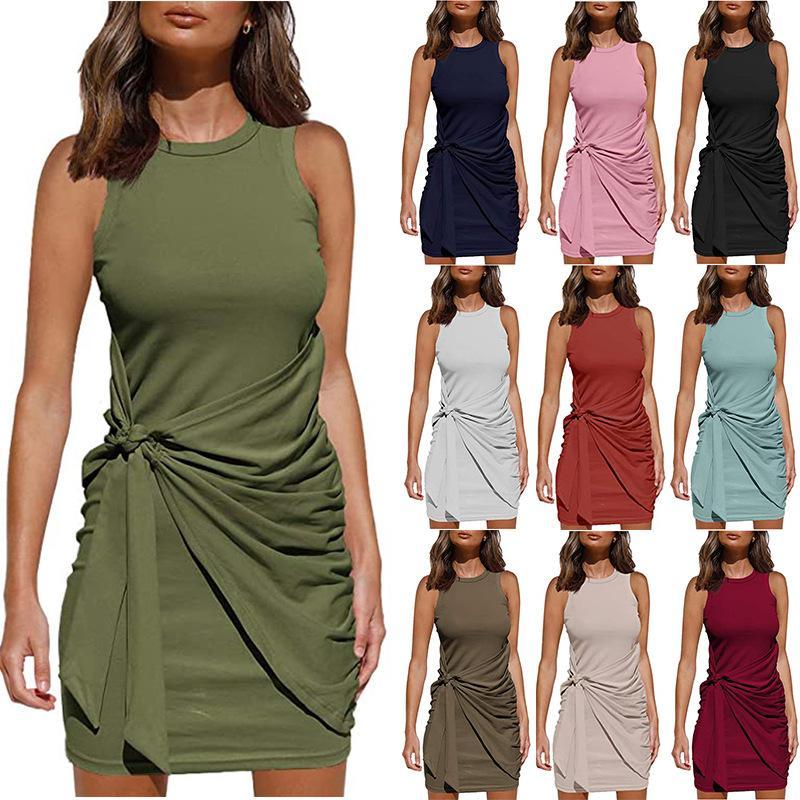 Vestidos informales con cuello redondo Vestido sin mangas Vestido europeo Americano Verano de mujeres más tamaño S / M / L / XL / 2XL ROSO ROJO