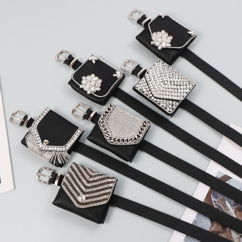 Taschen gürtel frauen straßen schießen doppelt nachtclub fashion fleisch glitzern schwere industrie eingelegter diamant kleiner quadratischer lippenstift schlüssel taille