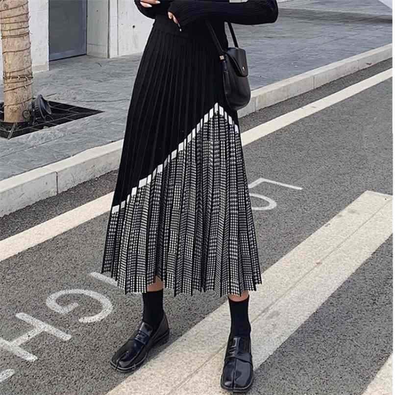 Zawfl inverno inverno moda weundstooth midi gonna femmina a vita alta pieghettata a maglia spessa nera calda calda 210408