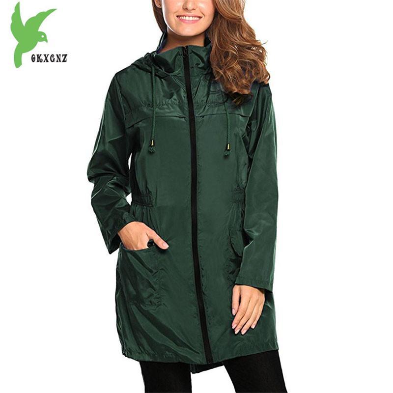 Sudaderas de la trinchera de las mujeres con capucha de primavera más tamaño delgado femenino impermeable impermeable parte superior rompevientos mujeres abrigo múltiple color 1952