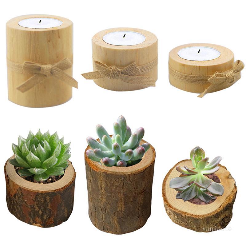 Stump Bougeoir 3pcs / Set Pilier Chandelier en bois Minipot de fleurs de fleurs Succurseurs de jardin de fleurs de fleurs Verture Environ T9I001231
