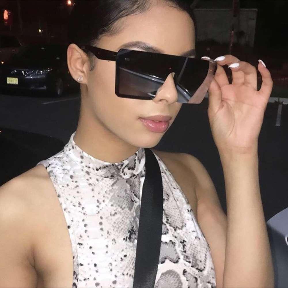 Qpeclou randloze oversized zonnebril vrouwen 2021 merk digner mannen vierkante spiegel zonnebril barragem een stuk klinknagel culos