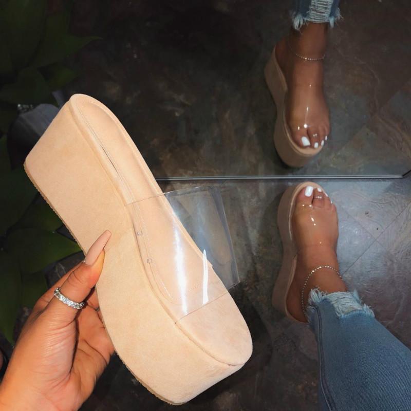 Platformu artı boyutu kadın ayakkabı 2021 seksi şeffaf yüksek topuklu kadın yaz sandalet renkli taban sandalias mujer elbise