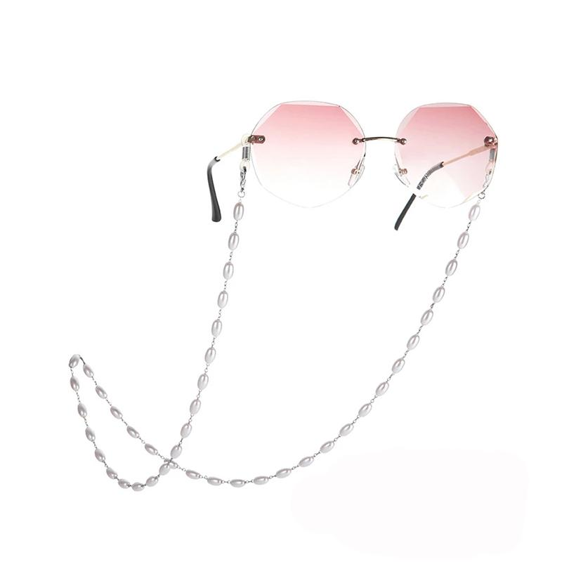 Eyeglasses Chain Women Pearl White Beaded Accessories Sunglasses Holder Cord Lanyards Mask Hanging Rope Necklace Gift