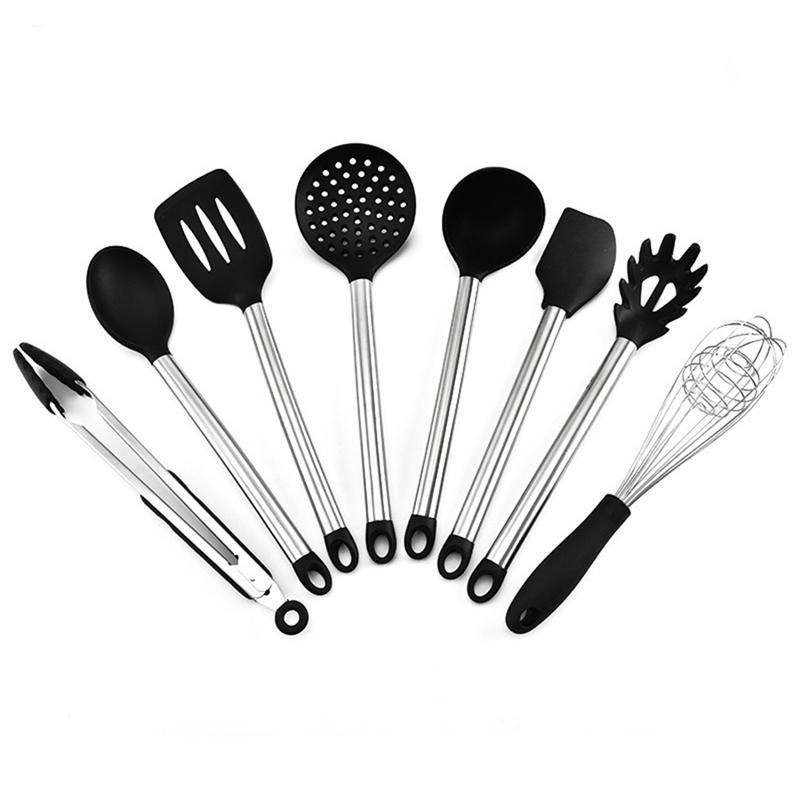 8pcs / Set Ustensiles de cuisson en silicone avec poignée en acier inoxydable Poignée antiadhésif Résistant à la chaleur Gadgets Cuisine Spatule GWE5709