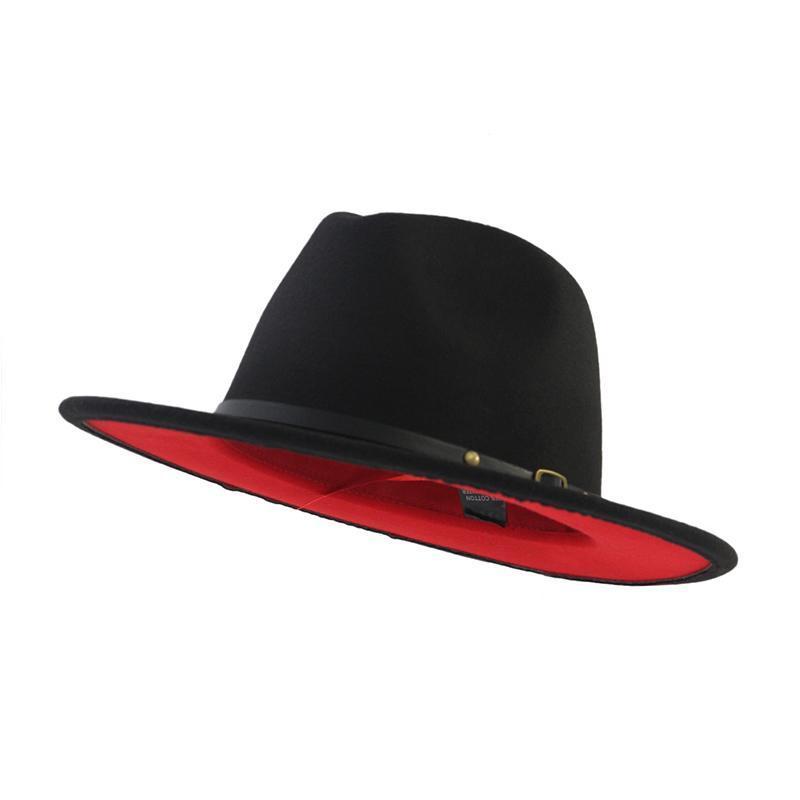 트렌드 레드 블랙 패치 워크 양모 남성 여성을위한 재즈 페도라 모자를 느꼈다 여성 탑 모자 겨울 파나마 모자 영국 평면 모자 와이드 브림