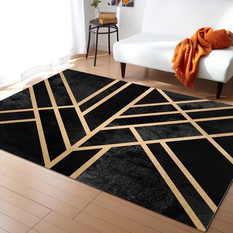 Teppiche Art Deco Black Teppich für Wohnzimmer Zimmer Schlafzimmer Nachttischdekor Große Fläche Teppich Kinder Crawlt Matte