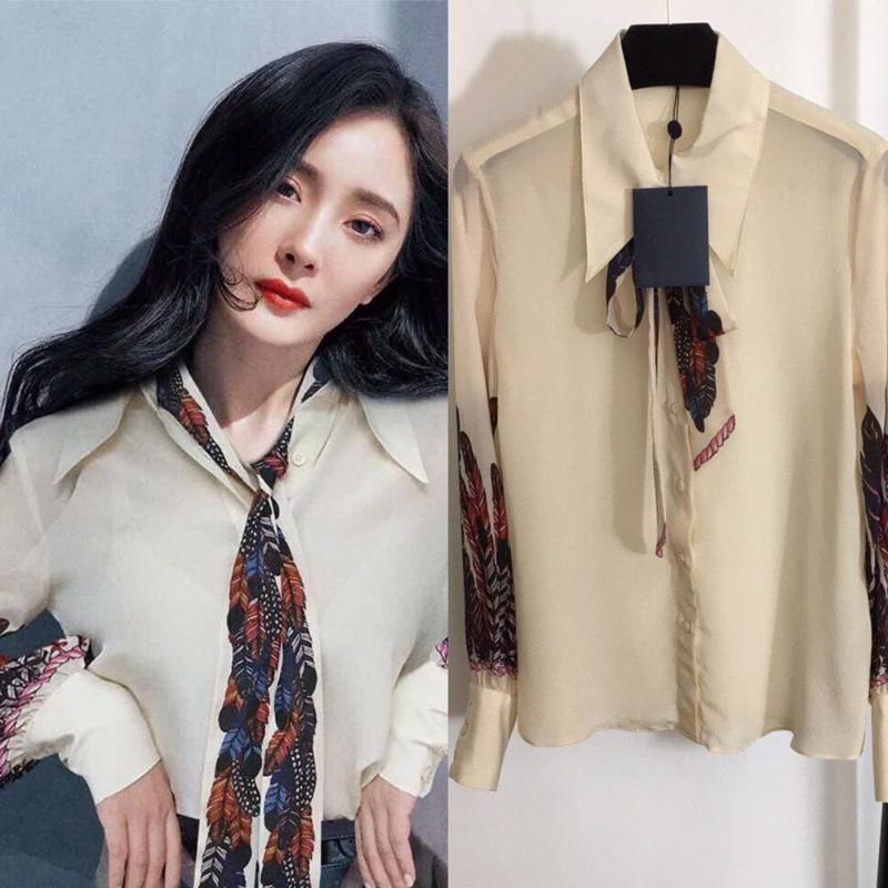 Высокое качество 100% реальная шелковая рубашка элегантные офисные дамы кружев носовая одежда мода поворотный воротник свободная печать блузка женские блузки