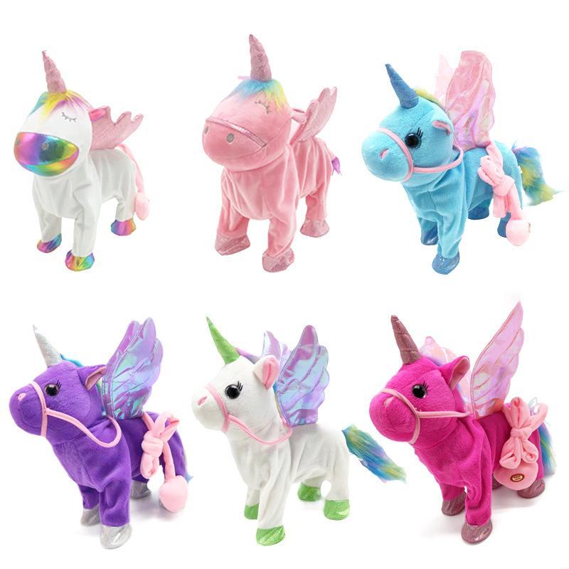 Schönes Spielzeug Nette Unicorn-Leine Pegasus-Puppe kann mit elektrischen Drachenpferd-Plüsch-Kindergeschenken gehen und singen