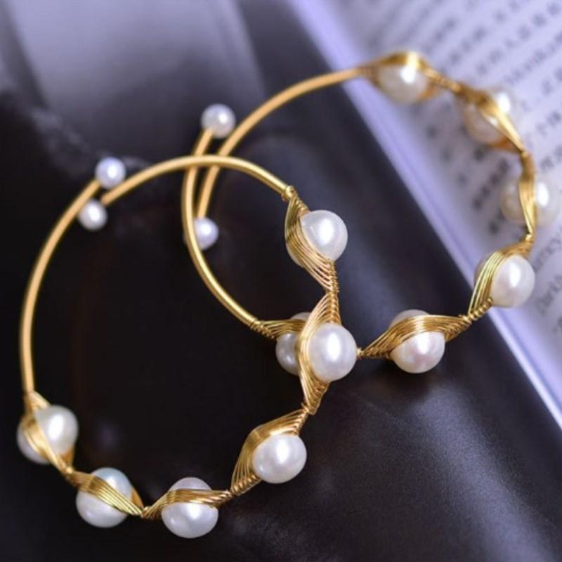 Handmade Bangle Natural White Pink Freshwater Pearl Beads Adjustable Jewelry Mother Gifts Bracelet Women's Fashion Bracelets