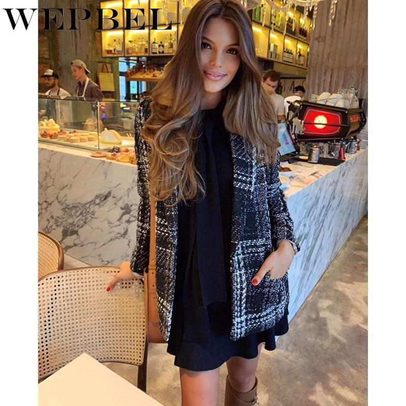 Jobbel Otoño e invierno Vintage Vintage Plaid Traje Chaqueta Damas Elegante Traje Collar One Button Slim Woolen Coat Outerwear